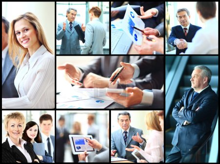 Collage of smart business people at work and hands of companions