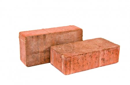 Two red decorative pavement bricks isolated on white