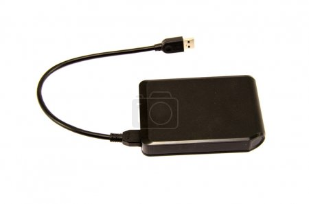 External hard drive with usb port isolated on white