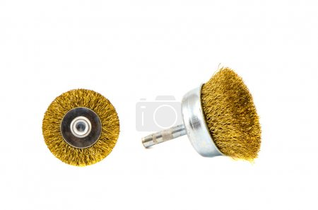 two Grinding discs and polishing brushes isolated on white