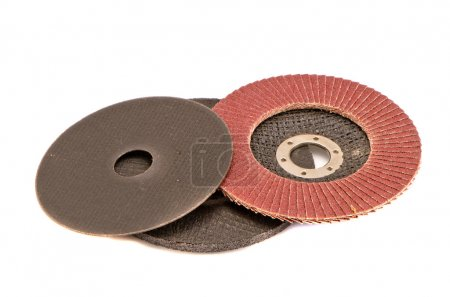 various grinding discs isolated on white