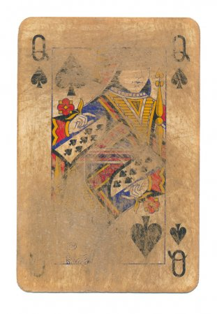 ancient used rubbed playing card queen of spades paper background isolated
