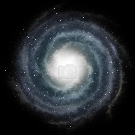 Blue spiral galaxy against black space and stars