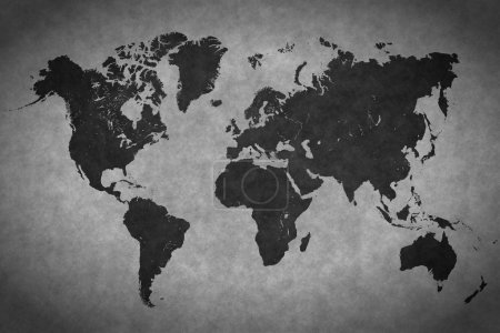 World map on a gray background