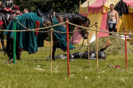 CHORZOW,POLAND, JUNE 9: Medieval knight defeated i...