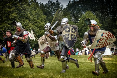 CHORZOW,POLAND, JUNE 9: Charge of the medieval knights during a