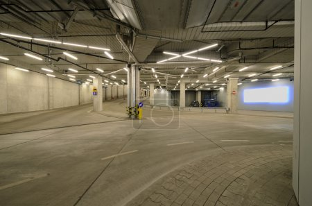 Interior of an urban tunnel without traffic with blank billboard