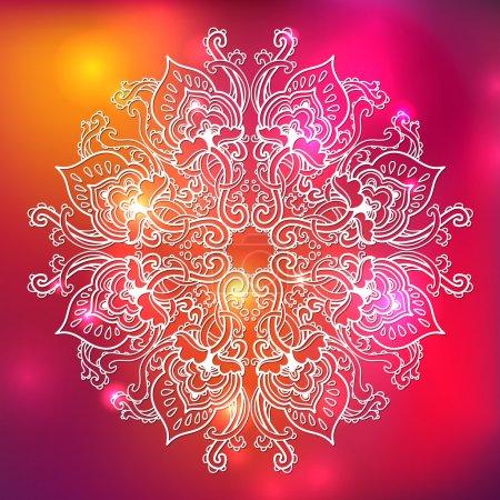 Photo pour Ronde d'ornement motif de dentelle florale. motif floral kaléidoscope, mandala. - image libre de droit