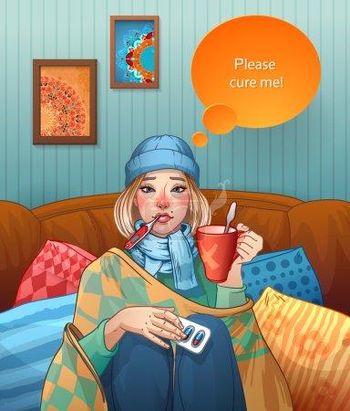 Illustration pour Jeune fille, souffrant de quinsy, ou la grippe ou tout autre virus rhume . - image libre de droit
