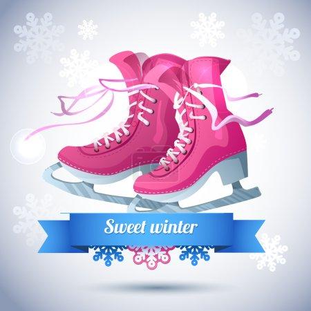 Illustration pour Carte de Noël rétro avec patins à glace. fond d'hiver avec flocons de neige et bottes de skate . - image libre de droit