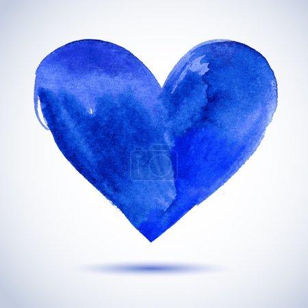 Illustration pour Coeur peint en bleu aquarelle, élément vectoriel pour votre conception - image libre de droit