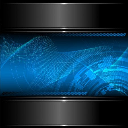 Abstract technology background with metallic banner. Vector.