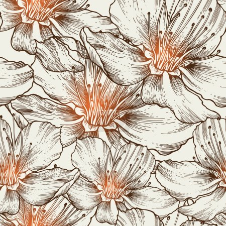 Illustration for Glamorous seamless background with blooming flowers, hand drawing. Vector illustration. eps10 - Royalty Free Image
