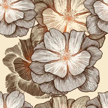 Illustration for Glamour seamless wallpaper with wild roses, hand-drawing. Vector illustration. Eps10. - Royalty Free Image