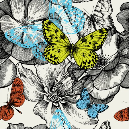 Illustration for Seamless pattern with blooming roses and flying butterflies, hand drawing. Vector illustration. - Royalty Free Image