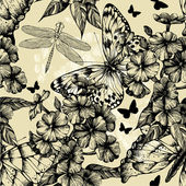 Seamless pattern with blooming phlox butterflies and dragonflie