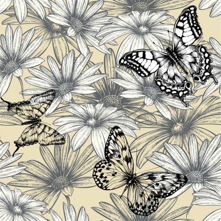 Seamless floral pattern with butterflies, hand drawing. Vector i
