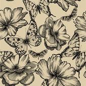 Bezešvé vzor s růžemi a motýlů, ruční kreslení. vecto