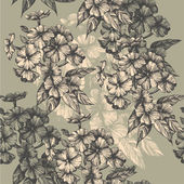 Seamless pattern with blooming phlox hand-drawing Vector illustration
