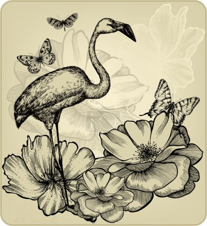 Vintage background with blooming roses, bird flamingos and butte