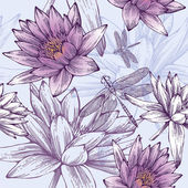 Seamless pattern with water lilies and dragonflies Vector illustration