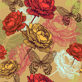 Seamless vintage pattern with blooming roses and colorful butter