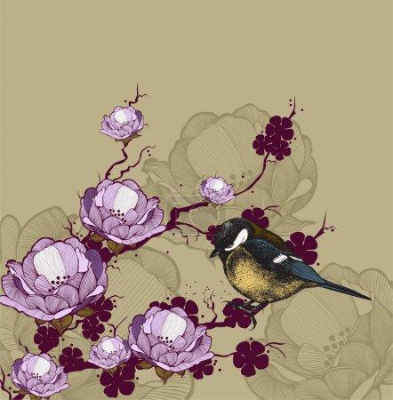 Illustration pour Arrière-plan avec branche fleurie et oiseau, dessin à la main. Illustration vectorielle . - image libre de droit