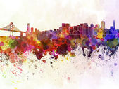 San Francisco skyline in watercolor background