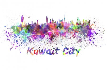Kuwait City skyline in watercolor