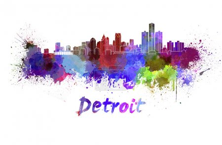 Detroit skyline in watercolor
