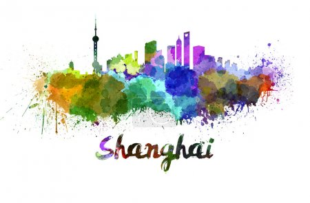 Shanghai skyline in watercolor