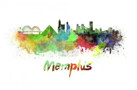 Memphis skyline in watercolor