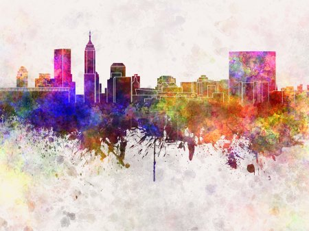Indianapolis skyline in watercolor background