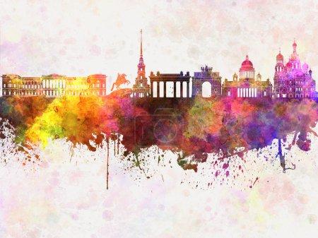 Photo pour Skyline Saint-Pétersbourg en arrière-plan aquarelle - image libre de droit