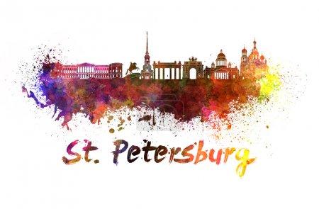Photo pour Ligne d'horizon de Saint-Pétersbourg en éclaboussures d'aquarelle avec chemin de coupe - image libre de droit