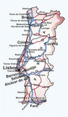 Road map of Portugal with the main cities and towns highways and railway lines in editable vector file