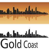 Gold Coast skyline in orange background in editable vector file