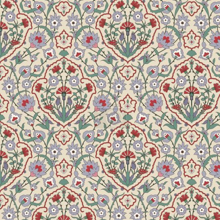 Illustration for Arabesque seamless pattern with carnations in editable vector file - Royalty Free Image