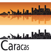Caracas skyline in orange background