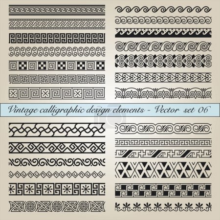 Illustration for Set of vintage calligraphic design elements in editable vector file - Royalty Free Image