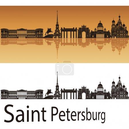 Illustration pour Skyline Saint-Pétersbourg en fond orange dans le fichier vectoriel modifiable - image libre de droit
