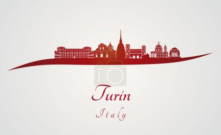 Turin skyline in red and gray background in editab...