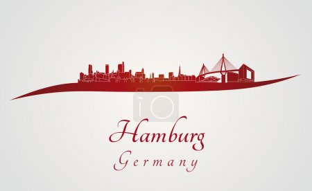 Illustration for Hamburg skyline in red and gray background in editable vector file - Royalty Free Image