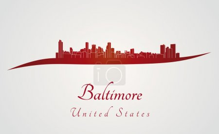 Baltimore skyline in red