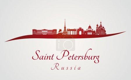 Illustration pour Skyline Saint-Pétersbourg en fond rouge et gris dans le fichier vectoriel modifiable - image libre de droit