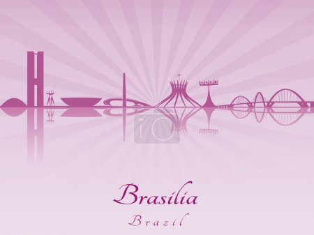 Brasilia skyline in purple radiant orchid