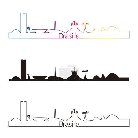 Brasilia skyline linear style with rainbow