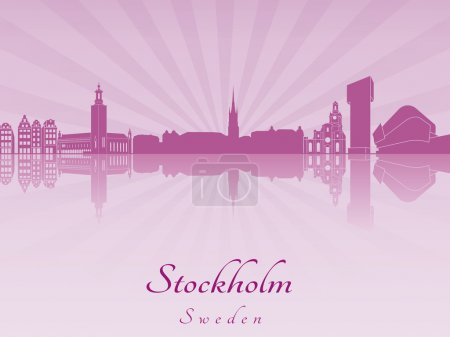 Stockholm skyline in purple radiant orchid