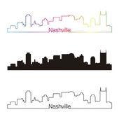 Nashville skyline linear style with rainbow