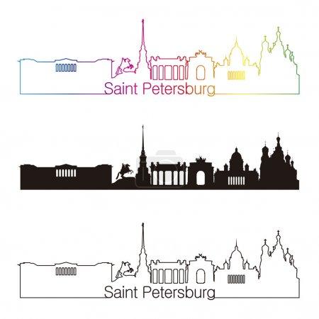 Illustration pour Style linéaire skyline de Saint-Pétersbourg avec arc-en-ciel dans un fichier vectoriel modifiable - image libre de droit